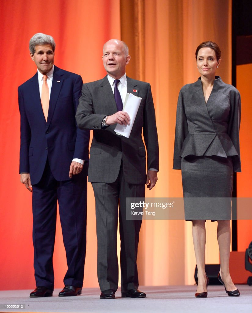 John Kerry, William Hague and Angelina Jolie attend the Global Summit to end Sexual Violence in Conflict at ExCel on June 13, 2014 in London, England.