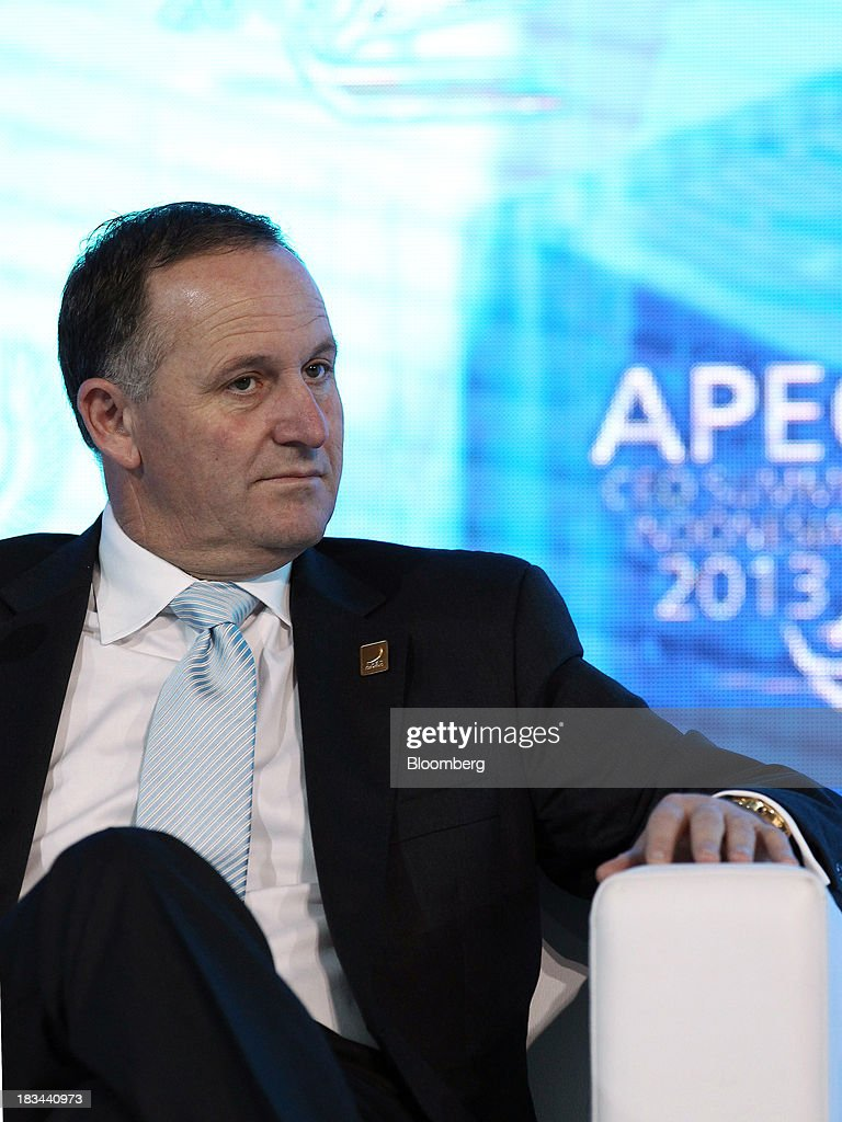 <a gi-track='captionPersonalityLinkClicked' href=/galleries/search?phrase=John+Key&family=editorial&specificpeople=2246670 ng-click='$event.stopPropagation()'>John Key</a>, New Zealand's prime minister, attends a panel discussion at the Asia-Pacific Economic Cooperation (APEC) CEO Summit in Nusa Dua, Bali, Indonesia, on Sunday, Oct. 6, 2013. Global growth will probably be slower and less balanced than desired, ministers from the APEC member economies said as they agreed to refrain from raising new barriers to trade and investment. Photographer: SeongJoon Cho/Bloomberg via Getty Images