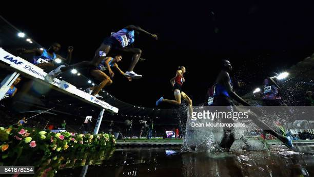 John Kibet Koech of Bahrain Conseslus Kipruto of Kenya Evan Jager Stanley Kipkoech Kebenei both of the USA and Soufiane Elbakkali of Morocco compete...