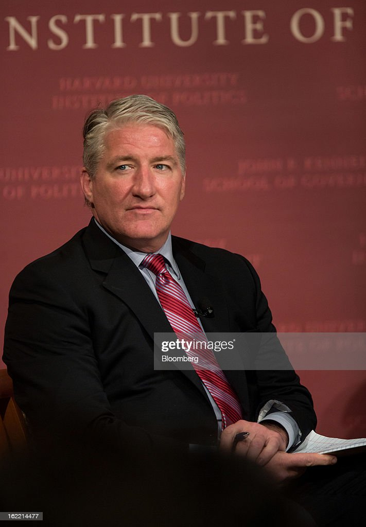 John King, chief national correspondent for CNN, pauses while speaking with David Keene, president of the National Rifle Association (NRA), unseen, at the Harvard Kennedy School of Government in Cambridge, Massachusetts, U.S., on Wednesday, Feb. 20, 2013. The Fairfax, Virginia-based NRA helped persuade Congress to make it tougher to study illegal firearm trafficking, stymie scientific research on shooting deaths and create restrictions that force U.S. law enforcement to record gun sales on microfiche. Photographer: Scott Eisen/Bloomberg via Getty Images