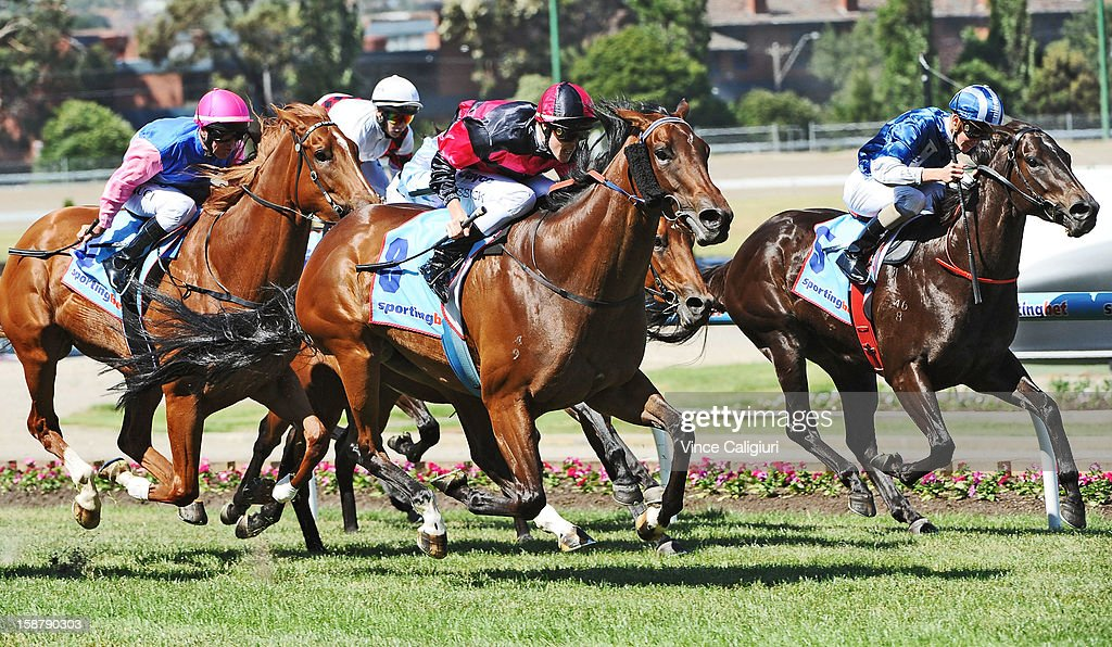 John Kissick riding Sumakaray wins Chandler MacLeod Handicap during Melbourne racing at Moonee Valley Racecourse on December 29, 2012 in Melbourne, Australia.