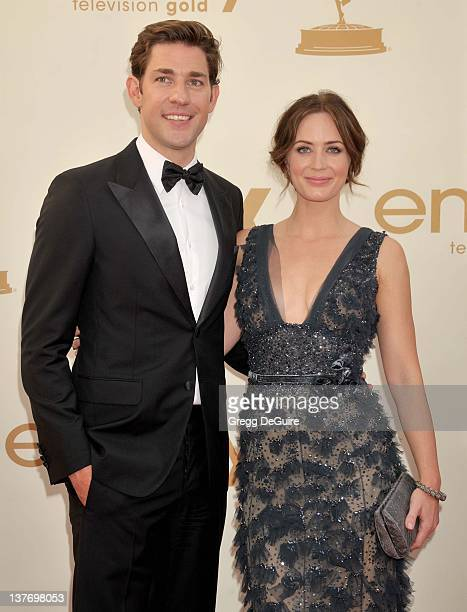 John Krasinski and Emily Blunt arrive at the Academy of Television Arts Sciences 63rd Primetime Emmy Awards at Nokia Theatre LA Live on September 18...