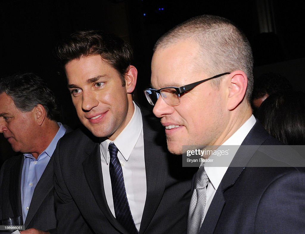 John Krasinski, and Matt Damon attend the IFP's 22nd Annual Gotham Independent Film Awards sponsored by FIJI Water at Cipriani Wall Street on November 26, 2012 in New York City.
