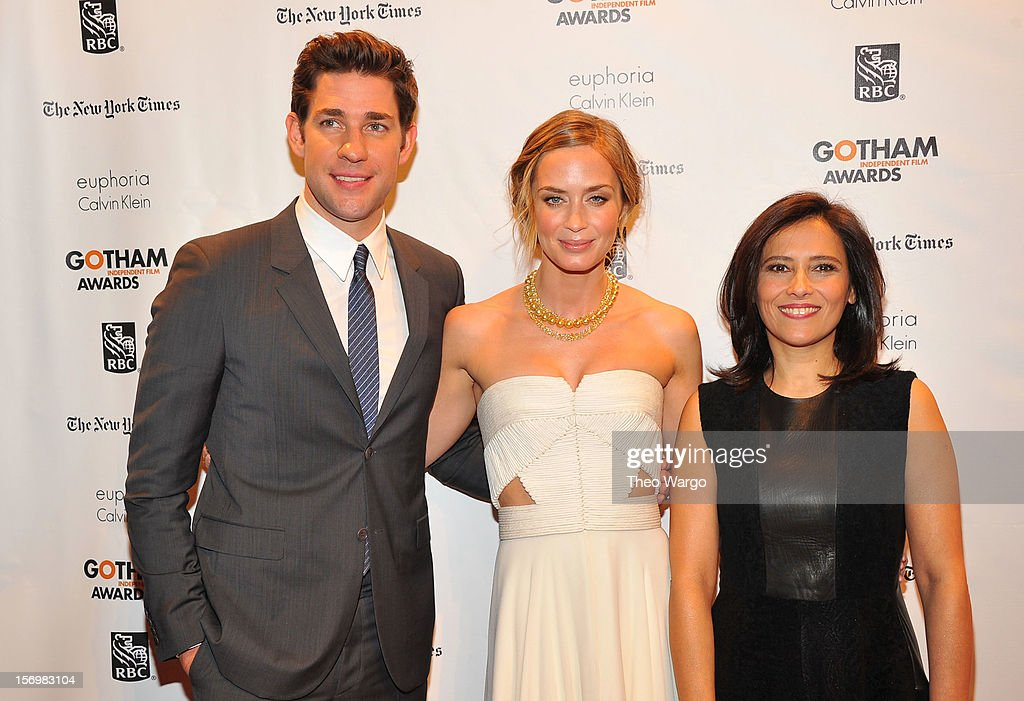 John Krasinski, Emily Blunt, and IFP Executive Director Joana Vicente attend the IFP's 22nd Annual Gotham Independent Film Awards at Cipriani Wall Street on November 26, 2012 in New York City.