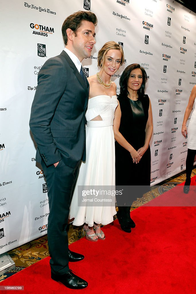 John Krasinski , Emily Blunt, and IFP Executive Director Joana Vicente attend the IFP's 22nd Annual Gotham Independent Film Awards at Cipriani Wall Street on November 26, 2012 in New York City.