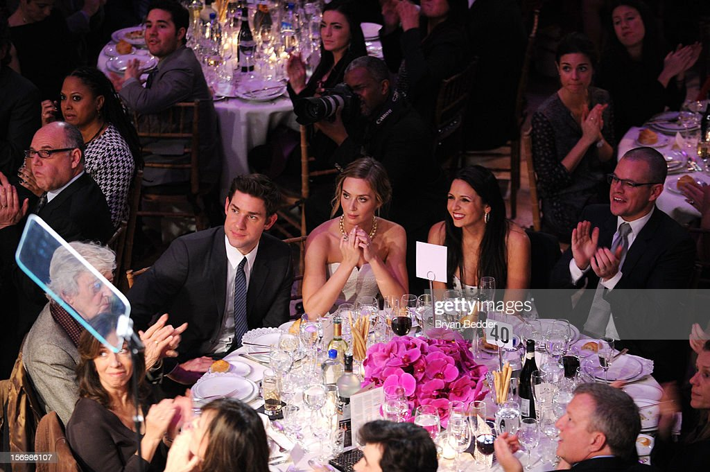 <a gi-track='captionPersonalityLinkClicked' href=/galleries/search?phrase=John+Krasinski&family=editorial&specificpeople=646194 ng-click='$event.stopPropagation()'>John Krasinski</a>, <a gi-track='captionPersonalityLinkClicked' href=/galleries/search?phrase=Emily+Blunt&family=editorial&specificpeople=213480 ng-click='$event.stopPropagation()'>Emily Blunt</a>, Luciana Bozan Barroso and <a gi-track='captionPersonalityLinkClicked' href=/galleries/search?phrase=Matt+Damon&family=editorial&specificpeople=202093 ng-click='$event.stopPropagation()'>Matt Damon</a> attend the 22nd Annual Gotham Independent Film Awards at Cipriani Wall Street on November 26, 2012 in New York City.