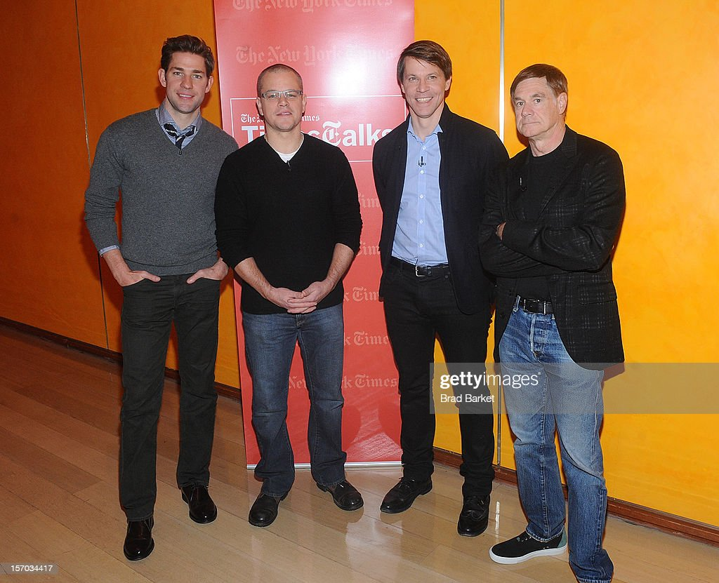 John Krasinski, Matt Damon, Hugo Lindgren and Gus Van Sant attends TimesTalk Presents An Evening With Marion Cotillard, Matt Damon & Gus Van Sant at TheTimesCenter on November 27, 2012 in New York City.