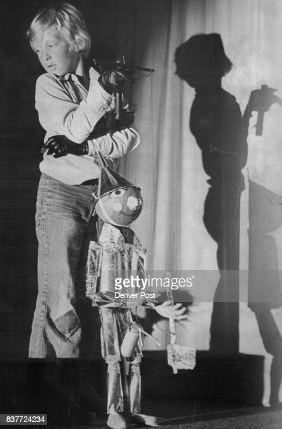 John Krieger Pulls the Strings for the Tin Woodman in Wizard of Oz' Columbine Hills Elementary School art department presented adaptation for 1978...