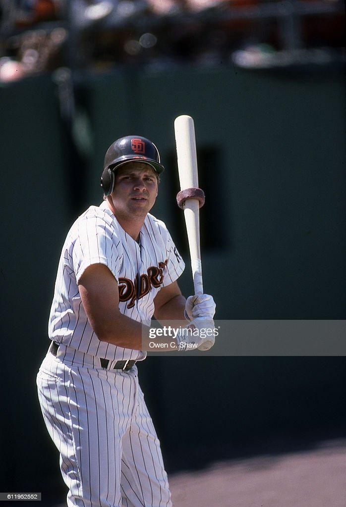John Kruk of the San Diego Padres circa 1987 prepares to bat at Jack Murphy Stadium in San Diego, California.