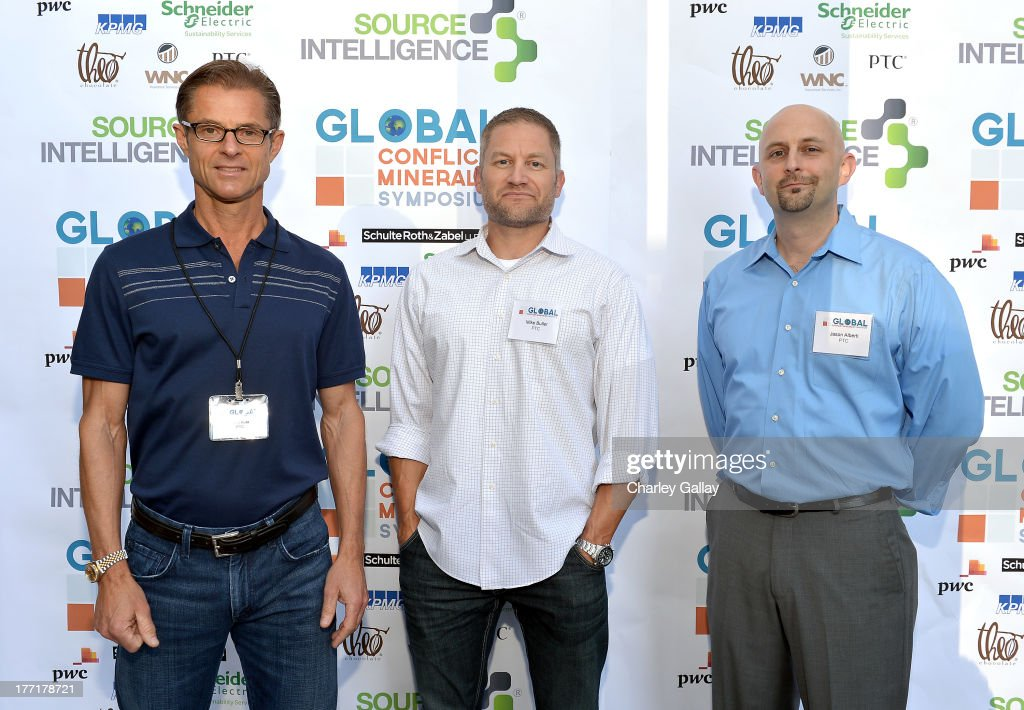 John Kuta, Mike Butler, and Jason Alberti of PTC attend the Global Conflict Minerals Symposium Dinner Presented by Source Intelligence at Omni Los Angeles Hotel on August 21, 2013 in Los Angeles, California.