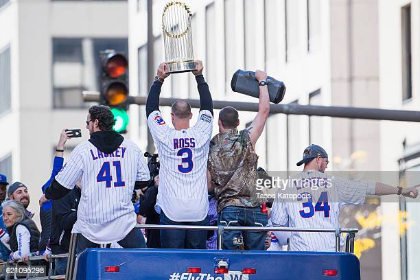 John Lackey David Ross Travis Wood and Jon Lester of the Chicago Cubs celebrate during the 2016 World Series victory parade on November 4 2016 in...