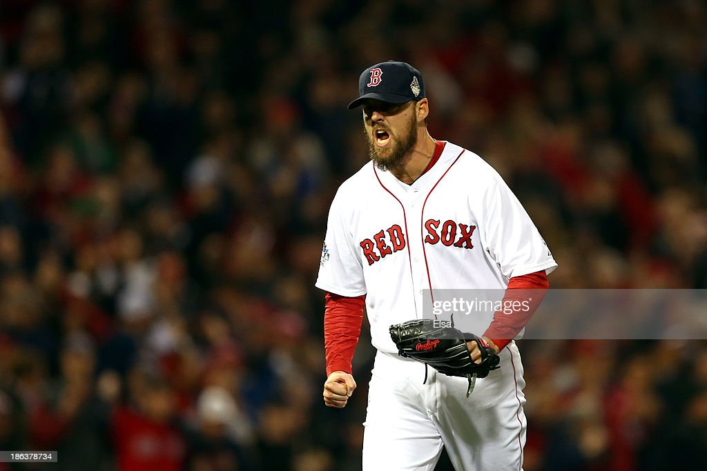 <a gi-track='captionPersonalityLinkClicked' href=/galleries/search?phrase=John+Lackey&family=editorial&specificpeople=171533 ng-click='$event.stopPropagation()'>John Lackey</a> #41 of the Boston Red Sox celebrates a strikeout in the fourth inning against the St. Louis Cardinals during Game Six of the 2013 World Series at Fenway Park on October 30, 2013 in Boston, Massachusetts.