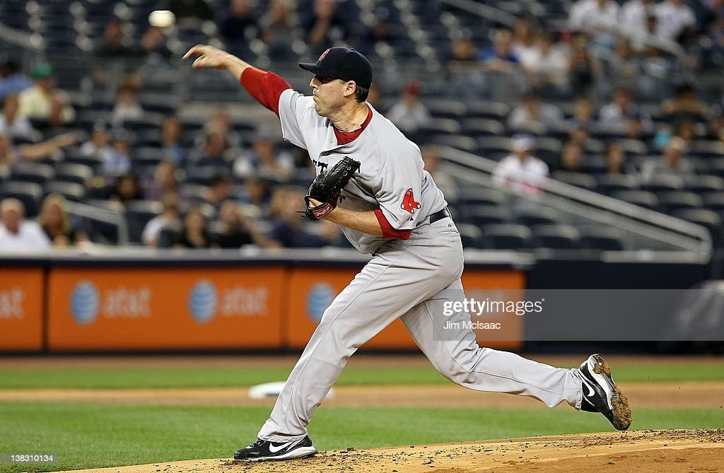 John Lackey #41 of the Boston Red Sox in action against the New York Yankees at Yankee Stadium on September 25, 2011 in the Bronx borough of New York City