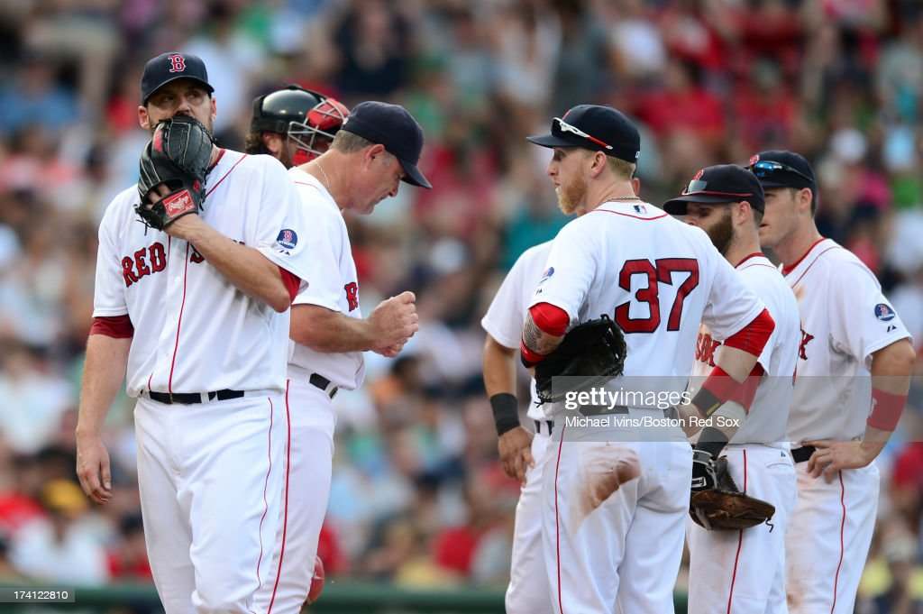 <a gi-track='captionPersonalityLinkClicked' href=/galleries/search?phrase=John+Lackey&family=editorial&specificpeople=171533 ng-click='$event.stopPropagation()'>John Lackey</a> #41 of the Boston Red Sox is pulled from the game against the New York Yankees in the sixth inning on July 20, 2013 at Fenway Park in Boston, Massachusetts.