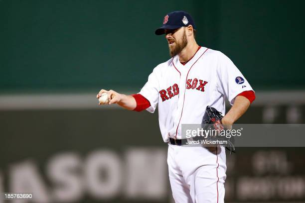 John Lackey of the Boston Red Sox pitches against the St Louis Cardinals during Game Two of the 2013 World Series at Fenway Park on October 24 2013...
