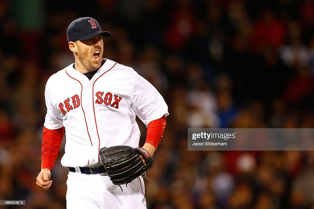 <a gi-track='captionPersonalityLinkClicked' href=/galleries/search?phrase=John+Lackey&family=editorial&specificpeople=171533 ng-click='$event.stopPropagation()'>John Lackey</a> #41 of the Boston Red Sox reacts after getting out of the fifth inning with men on base against the New York Yankees during the game at Fenway Park on April 23, 2014 in Boston, Massachusetts.