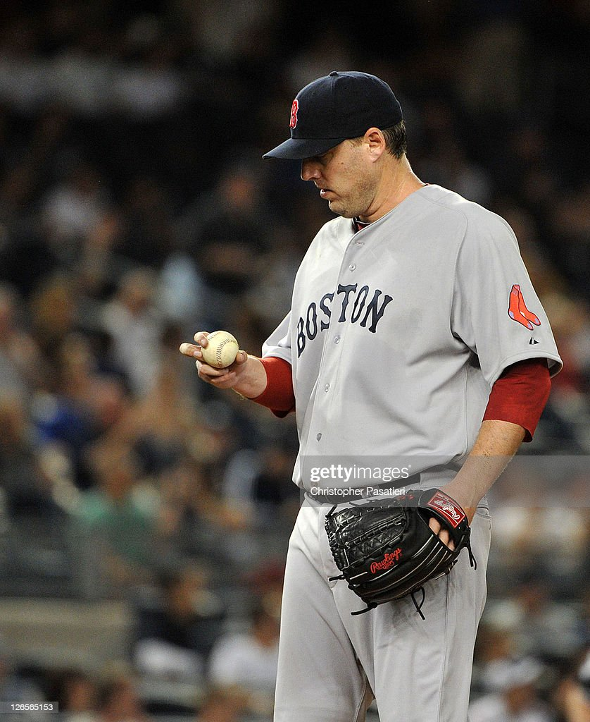 John Lackey #41 of the Boston Red Sox reacts to the game action against the New York Yankees on September 25, 2011 at Yankee Stadium in the Bronx borough of New York City.