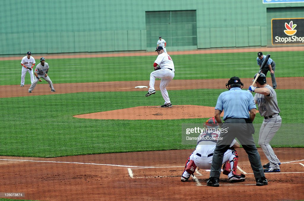 John Lackey #41 of the Boston Red Sox throws a pitch in the first inning against the Toronto Blue Jays at Fenway Park on September 14, 2011 in Boston, Massachusetts. The Blue Jays won the game 5-4.