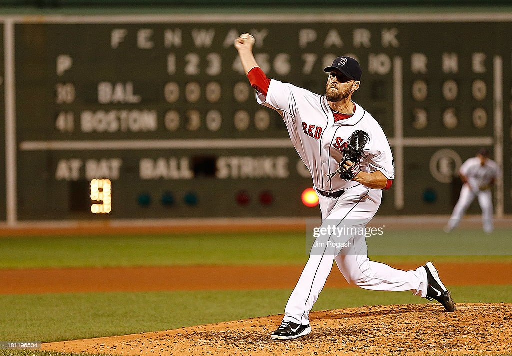 <a gi-track='captionPersonalityLinkClicked' href=/galleries/search?phrase=John+Lackey&family=editorial&specificpeople=171533 ng-click='$event.stopPropagation()'>John Lackey</a> #41 of the Boston Red Sox throws against the Baltimore Orioles in the sixth inning at Fenway Park on September 19, 2013 in Boston, Massachusetts.