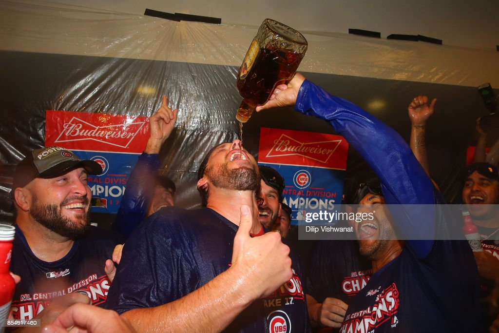 John Lackey #41 of the Chicago Cubs celebrates after winning the National League Central title against the St. Louis Cardinals at Busch Stadium on September 27, 2017 in St. Louis, Missouri.