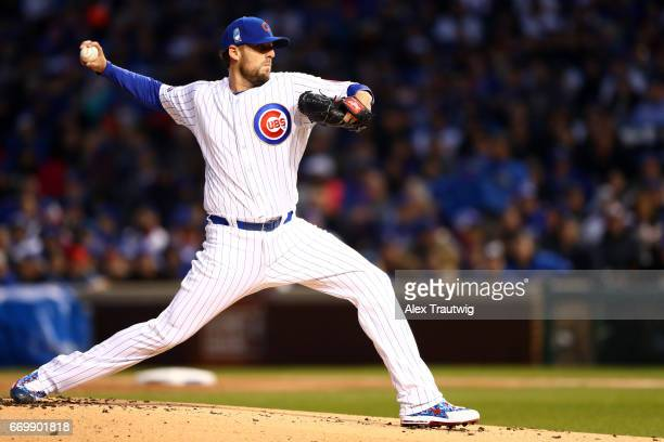John Lackey of the Chicago Cubs pitches in the first inning during the game against the Los Angeles Dodgers at Wrigley Field on Wednesday April 12...