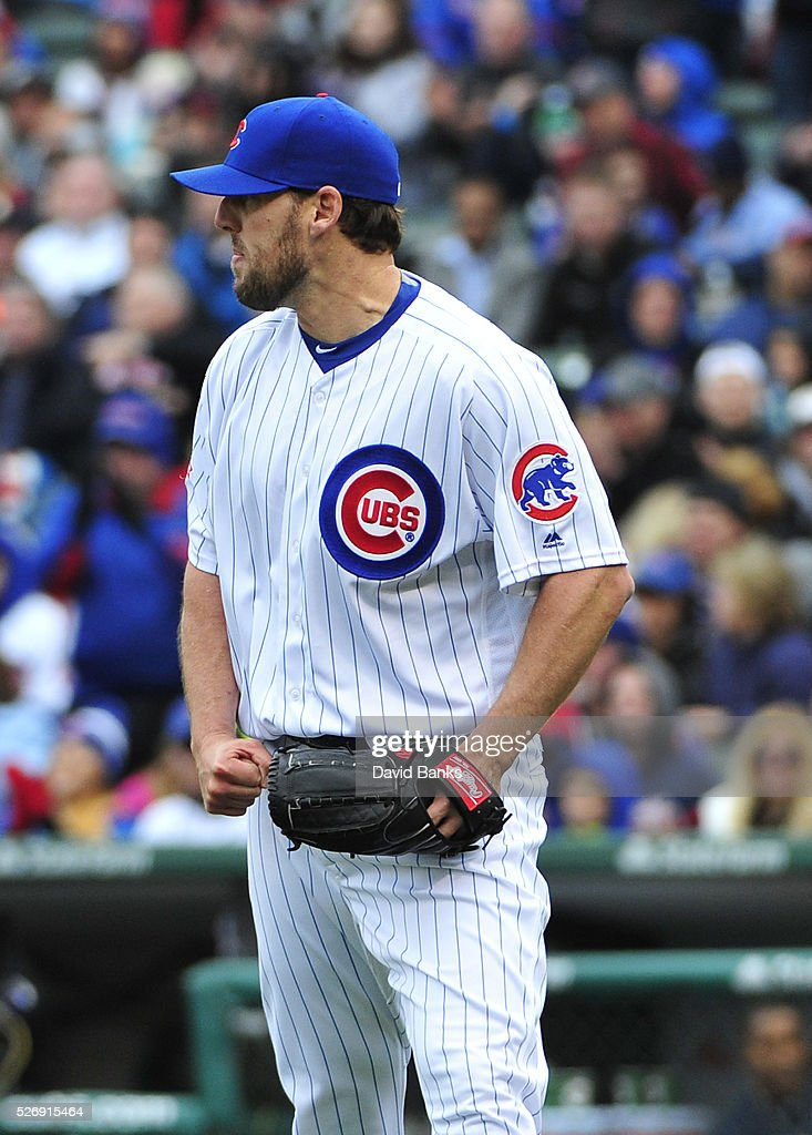 John Lackey #41 of the Chicago Cubs reacts after getting the final out during the sixth inning against the Atlanta Braves on May 1, 2016 at Wrigley Field in Chicago, Illinois.