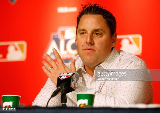 John Lackey of the Los Angeles Angels of Anaheim speaks at a press conference during workouts on October 15 2009 at Yankee Stadium in the Bronx...