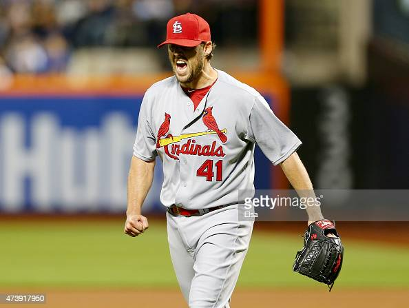 John Lackey of the St Louis Cardinals celebrates after the fourth inning against the New York Mets on May 18 2015 at Citi Field in the Flushing...