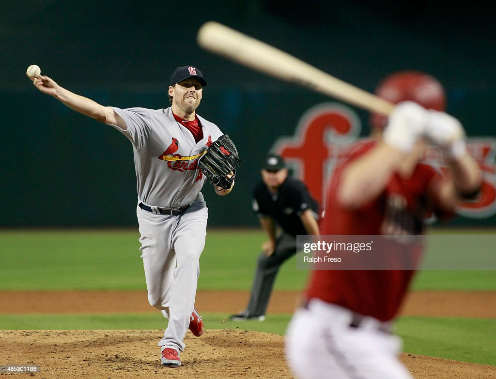 John Lackey #41 of the St Louis Cardinals delivers a pitch against the Arizona Diamondbacks during the first inning of a MLB game at Chase Field on August 26, 2015 in Phoenix, Arizona.