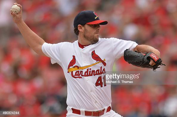 John Lackey of the St Louis Cardinals pitches against the Milwaukee Brewers in the first inning at Busch Stadium on September 27 2015 in St Louis...