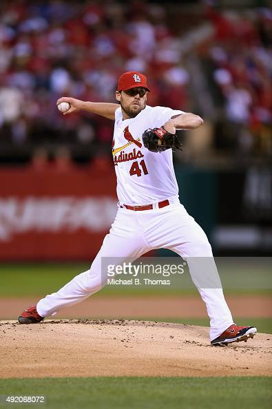 John Lackey of the St Louis Cardinals throws a pitch in the first inning against the Chicago Cubs during game one of the National League Division...