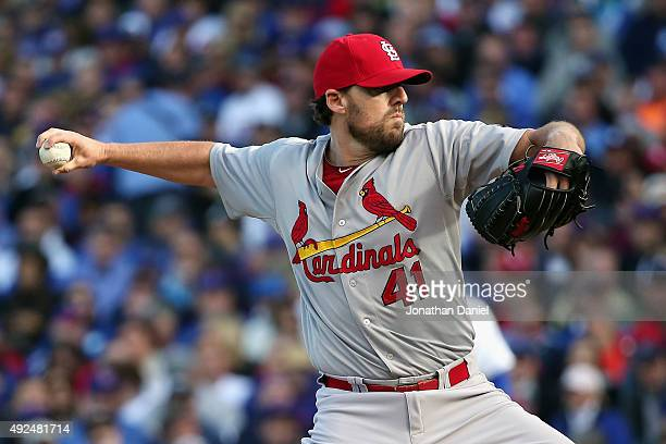 John Lackey of the St Louis Cardinals throws a pitch in the first inning against the Chicago Cubs during game four of the National League Division...