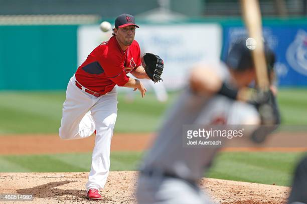John Lackey of the St Louis Cardinals throws the ball against the Detroit Tigers n the second inning during a spring training game at Roger Dean...