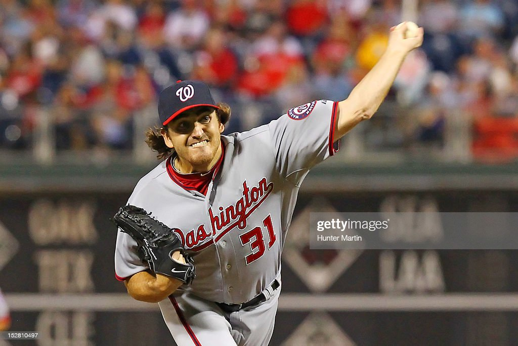 <a gi-track='captionPersonalityLinkClicked' href=/galleries/search?phrase=John+Lannan&family=editorial&specificpeople=4432497 ng-click='$event.stopPropagation()'>John Lannan</a> #31 of the Washington Nationals throws a pitch during a game against the Philadelphia Phillies at Citizens Bank Park on September 26, 2012 in Philadelphia, Pennsylvania.