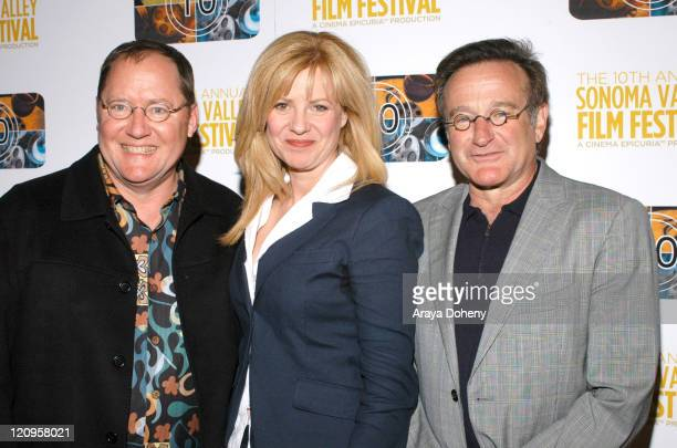 John Lasseter Bonnie Hunt and Robin Williams during The 10th Annual Sonoma Valley Film Festival Presents a Tribute to Pixar's John Lasseter Red...