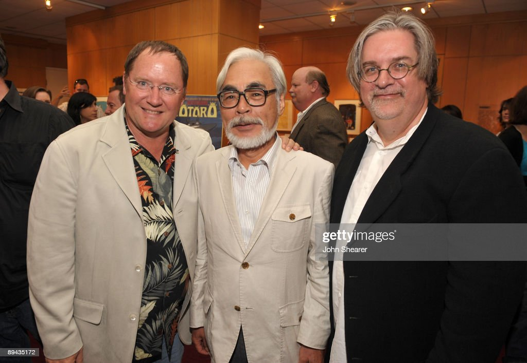 John Lasseter, chief creative officer of Pixar and Disney Animation Studios and principal creative advisor of Walt Disney Imagineering, Japanese film maker Hayao Miyazaki and animator Matt Groening attend AMPAS' 14th Annual Marc Davis Celebration of Animation at the AMPAS Samuel Goldwyn Theater on July 28, 2009 in Beverly Hills, California.