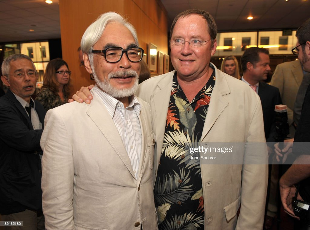 John Lasseter (R), chief creative officer of Pixar and Disney Animation Studios and principal creative advisor of Walt Disney Imagineering, and Japanese film maker Hayao Miyazaki attend AMPAS' 14th annual Marc Davis Celebration of Animation at the AMPAS Samuel Goldwyn Theater on July 28, 2009 in Beverly Hills, California.