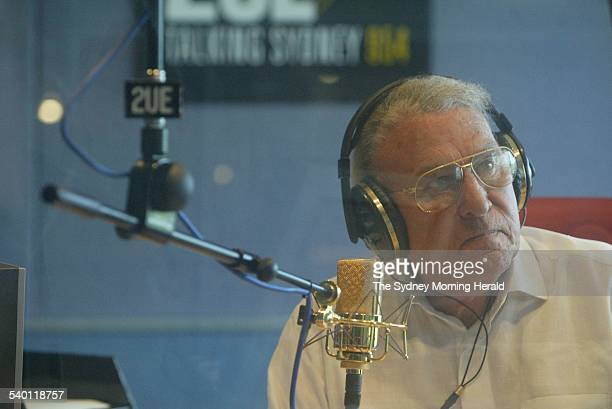 John Laws on air at Radio Station 2UE 31 January 2004 SMH Picture by PETER RAE