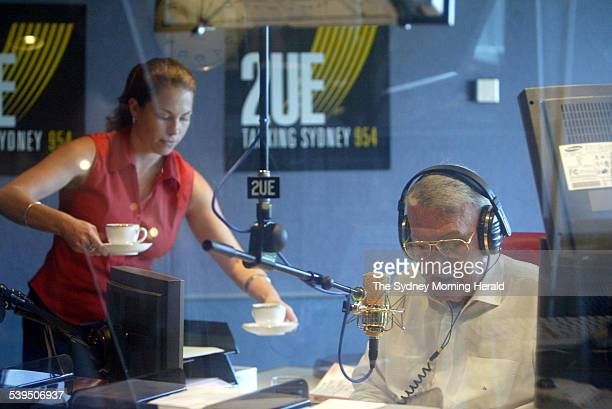 John Laws pictured on air at Radio Station 2UE in Sydney 31 January 2005 SMH NEWS Picture by PETER RAE
