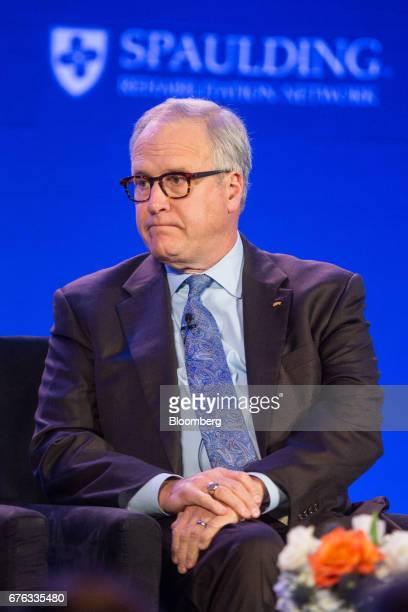 John Lechleiter former president and chief executive officer of Eli Lilly Co listens during the World Medical Innovation Forum in Boston...