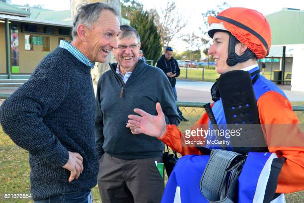 John Ledger and Damian Lane after winning the Hygain Maiden Plate at Swan Hill Racecourse on July 24 2017 in Swan Hill Australia