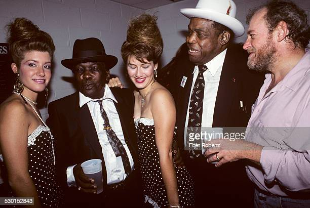 John Lee Hooker Willie Dixon and Joe Cocker backstage with friends at John Lee Hooker's Tribute Concert at Madison Square Garden in New York City on...