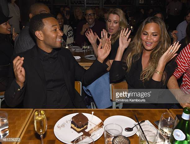 John Legend and Chrissy Teigen attend John Legend Celebrates His Birthday And The 10th Anniversary Of His Debut Album 'Get Lifted' at CATCH NYC on...