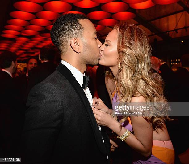 John Legend and Chrissy Teigen attend the 2015 Vanity Fair Oscar Party hosted by Graydon Carter at the Wallis Annenberg Center for the Performing...