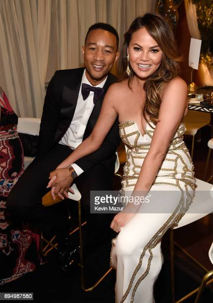 John Legend and Chrissy Teigen attend the 2017 Tony Awards at Radio City Music Hall on June 11 2017 in New York City