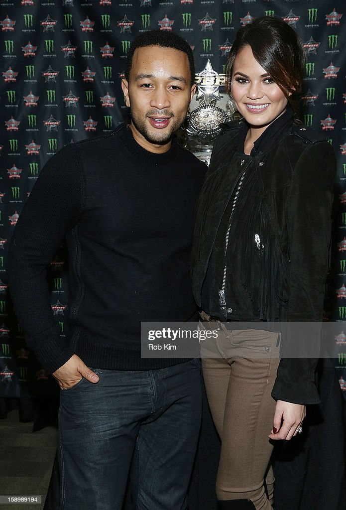 <a gi-track='captionPersonalityLinkClicked' href=/galleries/search?phrase=John+Legend&family=editorial&specificpeople=201468 ng-click='$event.stopPropagation()'>John Legend</a> (L) and Chrissy Teigen attend The Professional Bull Riders 2013 Monster Energy Invitational VIP Party at Madison Square Garden on January 4, 2013 in New York City.