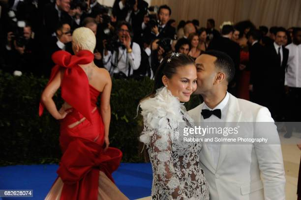 John Legend and Chrissy Teigen attends 'Rei Kawakubo/Comme des Garcons Art Of The InBetween' Costume Institute Gala Arrivals at Metropolitan Museum...