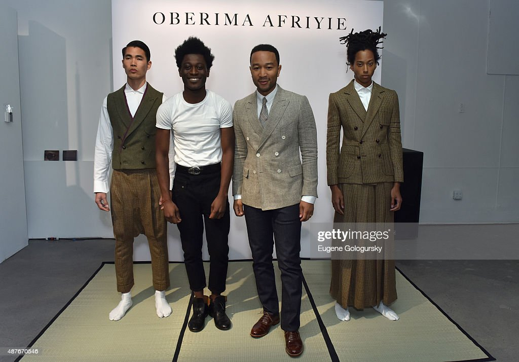 John Legend and designer Afriyie Poku attend as AXE and Esquire present the AXE White Label Collective during the opening night of New York Fashion Week on September 10, 2015 at Pop14 in New York City.
