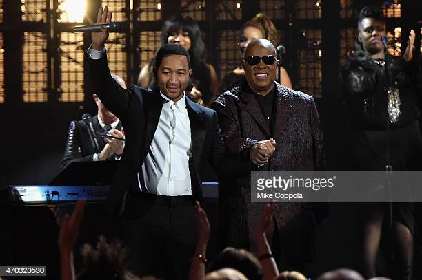 John Legend and Stevie Wonder onstage during the 30th Annual Rock And Roll Hall Of Fame Induction Ceremony at Public Hall on April 18 2015 in...
