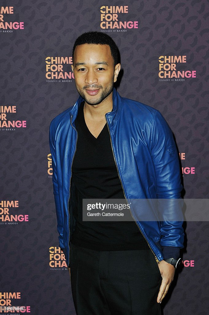 John Legend attends a press conference to announce 'The Sound Of Change Live', a global concert event, at the Soho Hotel on March 26, 2013 in London, United Kingdom. Chime For Change, a global campaign for girls' and women's empowerment founded by Gucci and with a founding committee comprised of Gucci Creative Director Frida Giannini, Salma Hayek Pinault and Beyonce Knowles-Carter, today announced a concert event at London's Twickenham Stadium on June 1 with Co-founder and Artistic Director, Beyonce as headliner. Also set to perform are Ellie Goulding, Florence and the Machine, HAIM, Iggy Azalea, John Legend, Laura Pausini, Rita Ora, Timbaland and more to be announced.